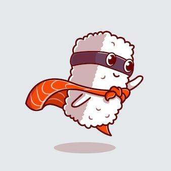 Ładny łosoś sushi bohater kreskówka ikona ilustracja.