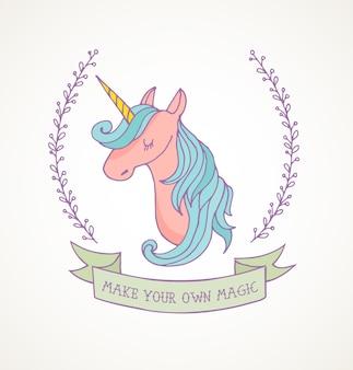Ładny magiczny jednorożec i plakat tęczy, kartka urodzinowa z życzeniami