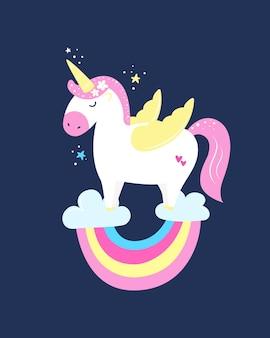 Ładny magiczny jednorożec. nadruk na koszulkę, kartkę z życzeniami lub naklejkę. ilustracja wektorowa