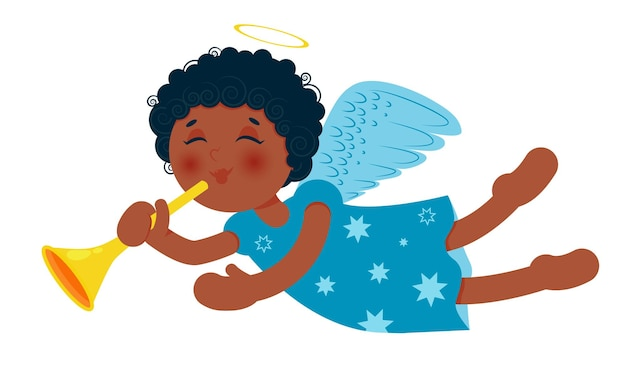 Ładny mały aniołek bożonarodzeniowy z trąbką. afroamerykańska dziewczynka.