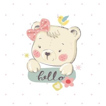 Ładny mały bearcartoon ręcznie rysowane ilustracji wektorowych może być używany do druku moda tshirt dla dzieci
