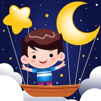 Ładny mały chłopiec, jazda na latającej łodzi w nocy