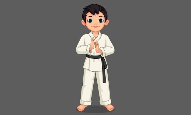 Ładny mały chłopiec karate w stojącej pozie ilustracji