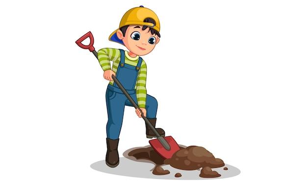 Ładny mały chłopiec kopanie dziury z ilustracja kreskówka łopata