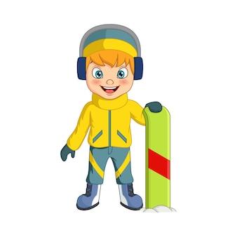 Ładny mały chłopiec kreskówka na snowboardzie na białym tle