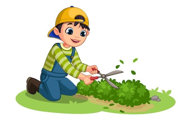Ładny mały chłopiec ogrodnik ilustracja