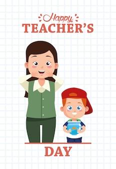 Ładny mały chłopiec uczeń z postaciami akwarium i nauczyciela