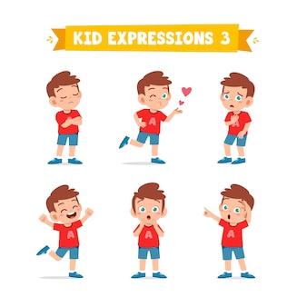 Ładny mały chłopiec w różne wyrażenia i zestaw gestów