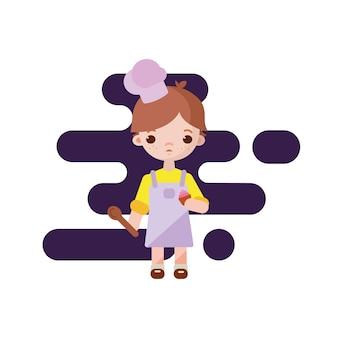 Ładny mały cukiernik. chłopiec cukiernik. ilustracja. piekarnia chłopiec z babeczką i łyżką w ręku