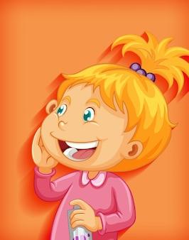 Ładny mały dziewczyna uśmiech postać z kreskówki na białym tle na pomarańczowym tle
