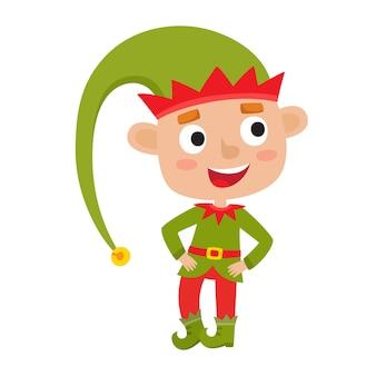 Ładny mały elf boże narodzenie chłopiec uśmiecha się