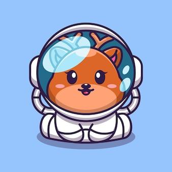 Ładny mały jeleń ubrany w postać z kreskówki kostium astronauty