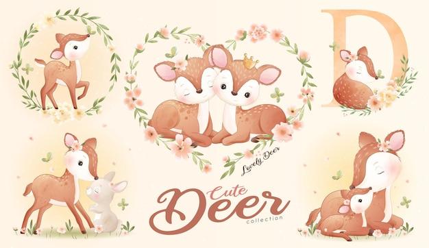 Ładny mały jeleń z zestawem ilustracji akwarela