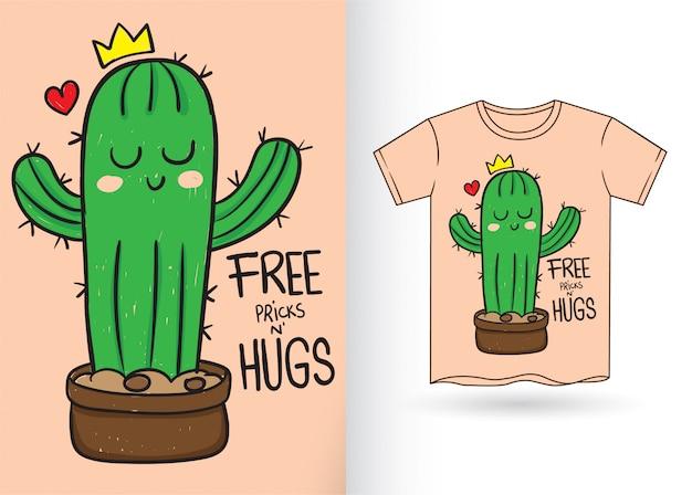 Ładny mały kaktus ręcznie rysowane na koszulkę