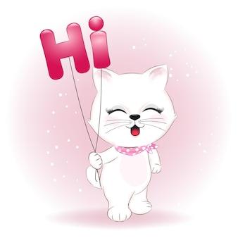 Ładny mały kot i balony. powiedz koncepcję hi.
