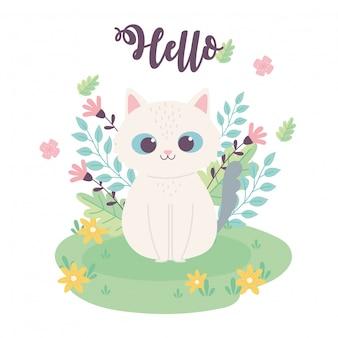 Ładny mały kot kwiaty siedzi w kreskówce łąka