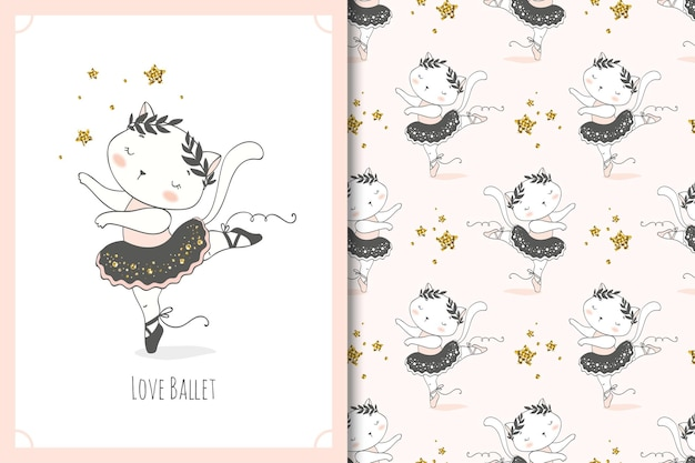 Ładny mały kot tancerz baleriny postać z kreskówki. zestaw kart kitty i wzór.