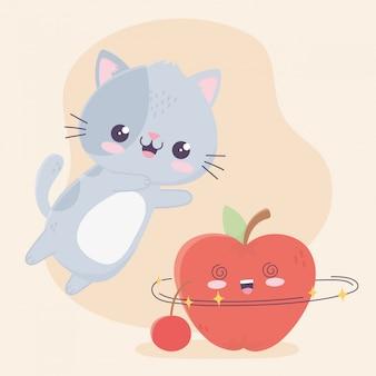 Ładny mały kot z postacią z kreskówek kawaii jabłko i wiśnia