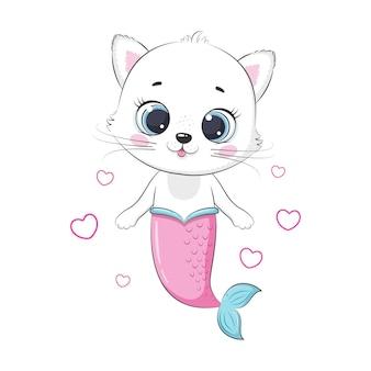 Ładny mały kotek i syrenka. syrena. ilustracja