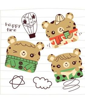 Ładny mały kreskówka niedźwiedź