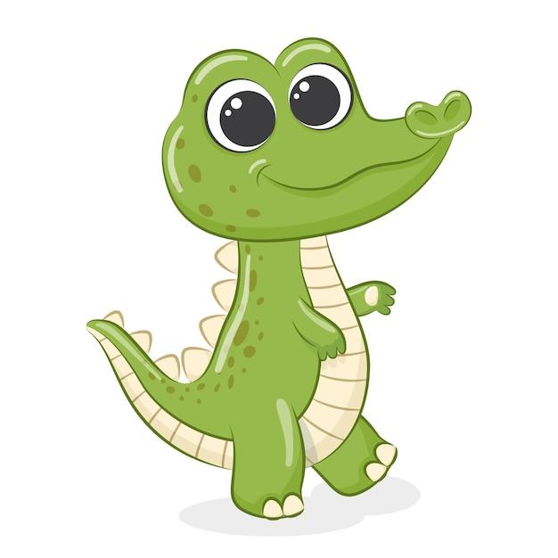 Ładny mały krokodyl kreskówka na białym tle
