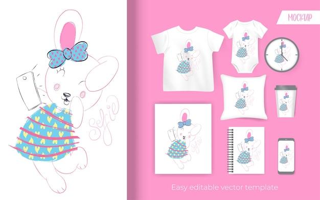 Ładny mały króliczek projekt ilustracji dla towarów