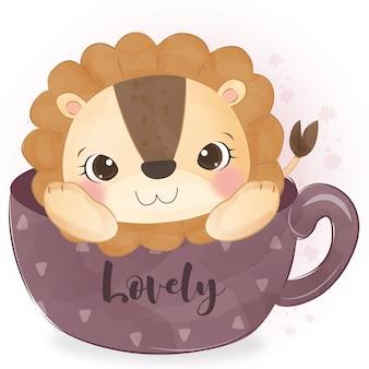 Ładny mały lew siedzi na ilustracji filiżanki
