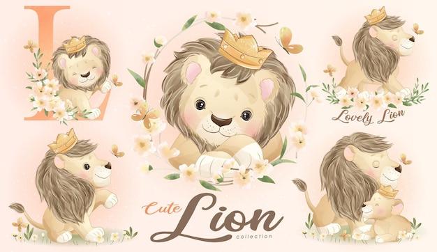Ładny mały lew z zestawem ilustracji akwarela