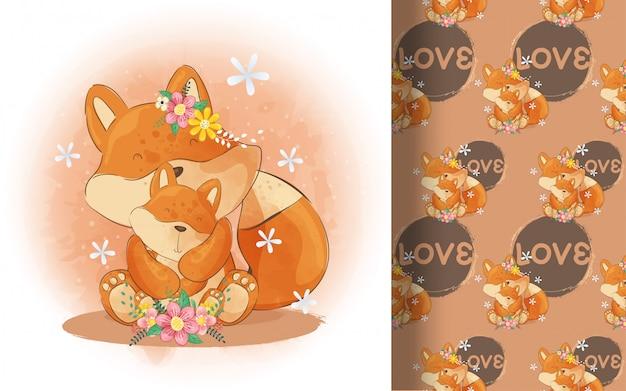 Ładny mały lis dziecko i mama wzór. ilustracja dla dzieci