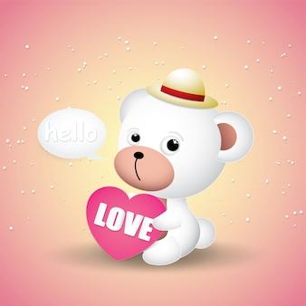 Ładny mały miś i różowe serca.