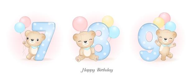 Ładny mały niedźwiedź urodziny z numerem ilustracji