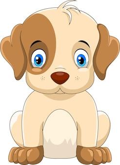 Ładny mały pies kreskówka na białym tle