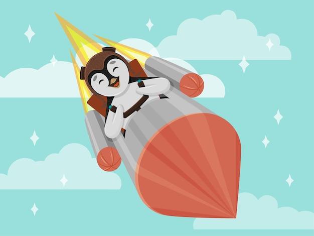 Ładny mały pingwin latający na rakiecie.
