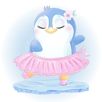 Ładny mały pingwin taniec baletowy