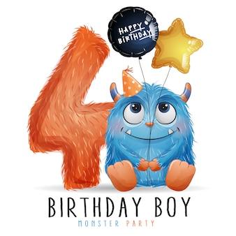 Ładny mały potwór urodziny z akwarela ilustracja