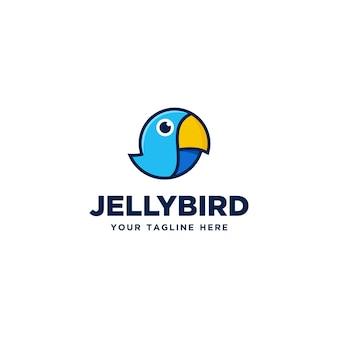 Ładny mały ptak kreskówka logo projekt