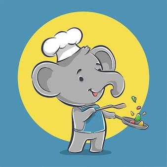 Ładny mały słoń kucharz gotowanie żywności ikona ilustracja kreskówka