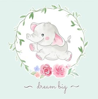 Ładny mały słoń skaczący w ilustracji kwiatowy ramki