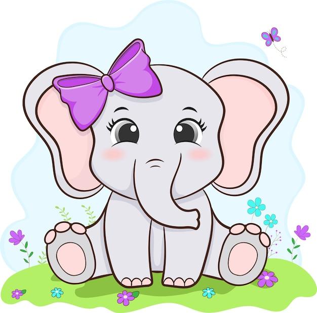 Ładny mały słoń żeński