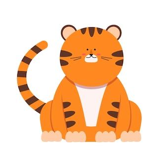 Ładny mały tygrys w stylu płaski. symbol chińskiego nowego roku 2022. na baner, żłobek, wzór wystroju. ilustracja wektorowa ręcznie rysowane.