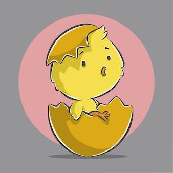Ładny mały właz kurczaka ilustracja kreskówka ikona