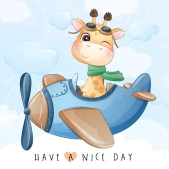 Ładny mały żyrafa latający z ilustracji samolotu