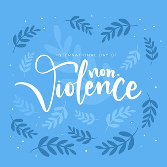 Ładny międzynarodowy dzień niestosowania przemocy z liśćmi