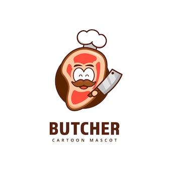 Ładny mięsny rzeźnik mięso kuchnia szef kuchni logo ikona maskotka