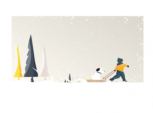 Ładny minimalistyczny wektor sezonu zimowego. panoramiczny śnieżny zimowy krajobraz z szczęśliwym dzieckiem przeciągnij psa na saniach. sosna drzewo i biały śnieg z żółtymi liśćmi i lasów liściastych