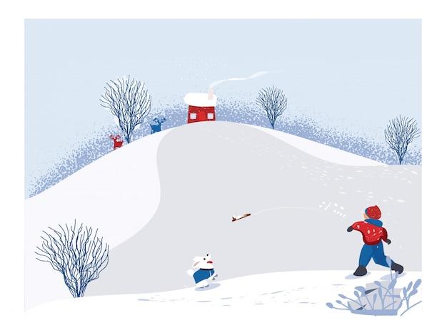 Ładny minimalistyczny wektor sezonu zimowego. scena śnieżnego zimowego krajobrazu ze szczęśliwym dzieckiem grającym w drewno kij z psem. drzewo sosnowe i biały śnieg z jodłowymi wzgórzami i drzewami liściastymi. kolor biały, niebieski i czerwony