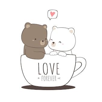 Ładny misia i para niedźwiedzia polarnego siedzi w doodle kreskówka kubek kawy