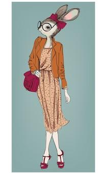 Ładny moda hipster zając dziewczyna z torbą. ilustracja wektorowa
