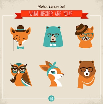 Ładny moda hipster zwierzęta i zwierzęta, zestaw ikon