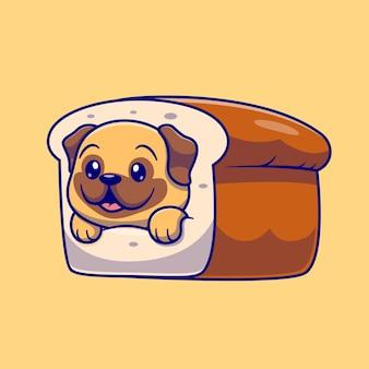 Ładny mops chleb kreskówka wektor ikona ilustracja. koncepcja ikona żywności zwierząt na białym tle premium wektor. płaski styl kreskówki